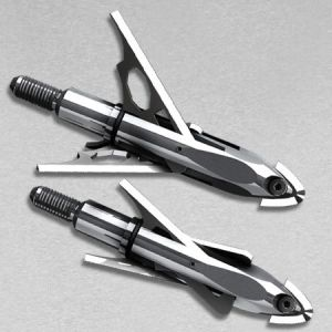 A mechanical broadhead cocked (below) and deployed (above)